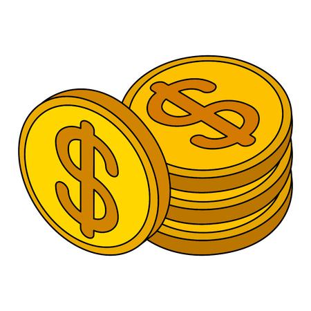 stacked coins dollar money cash isometric vector illustration Illustration