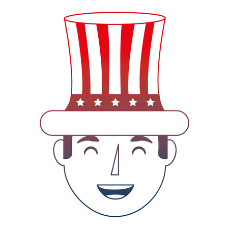 smiling man face with top hat flag american independence day vector illustration red neon
