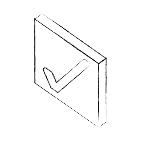 checkmark ok button web isometric vector illustration sketch