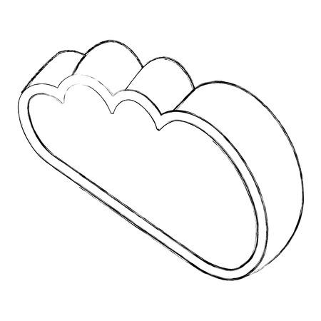 cloud computing data storage web isometric vector illustration sketch Illustration