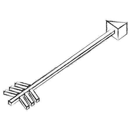 isometric arrow goal direction icon vector illustration sketch