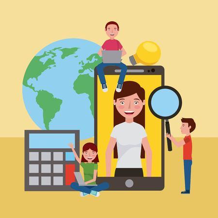 students smartphone world learning online education vector illustration