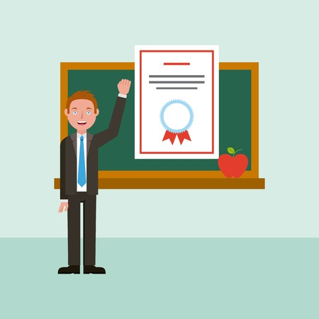 teacher diploma and chalkboard learning online education vector illustration