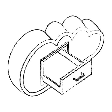 cloud computing with open drawer isometric vector illustration sketch