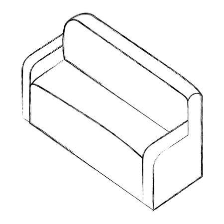 sofa comfort furniture comfort isometric vector illustration sketch Illustration