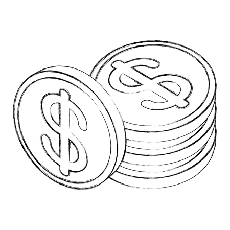 stacked coins dollar money cash isometric vector illustration sketch