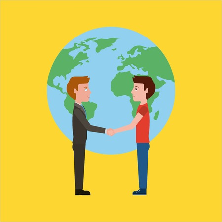 teacher and student handshake world education vector illustration