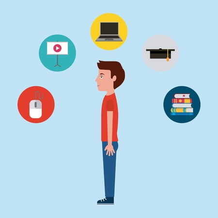 student boy character learning online education vector illustration 向量圖像