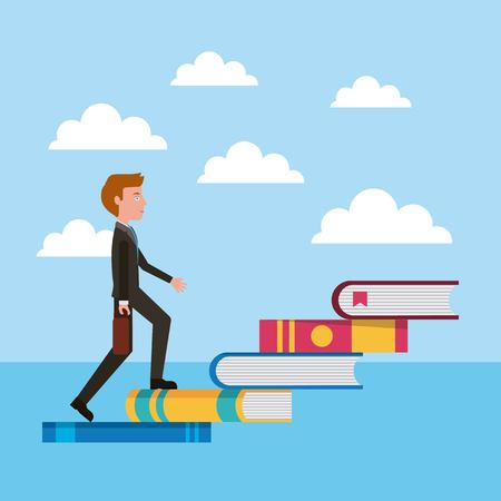 teacher climbing books stairs learning success vector illustration