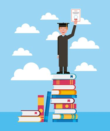 graduate student on top stacked books learning vector illustration