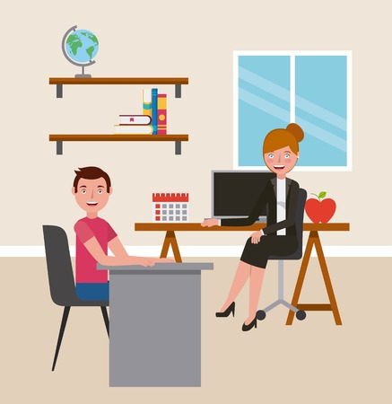 teacher woman and student boy teaching in classroom learning vector illustration  イラスト・ベクター素材