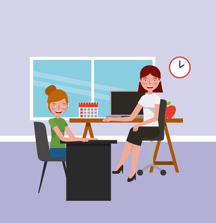 teacher woman and student girl in classroom learning vector illustration
