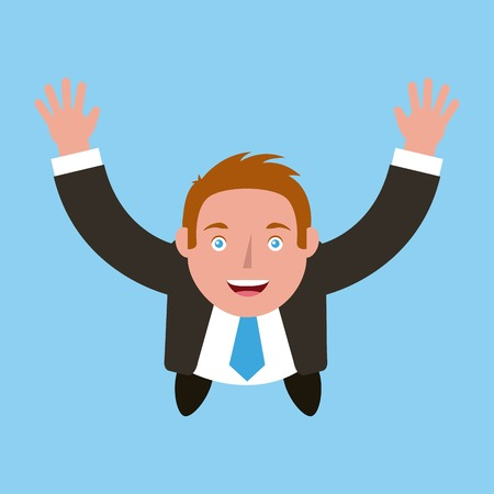 businessman standing raised arms celebrating top view vector illustration