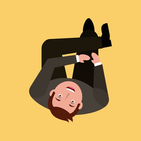businessman look up sitting top view vector illustration