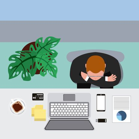 businessman folded arms in workspace with desk view from above vector illustration 일러스트