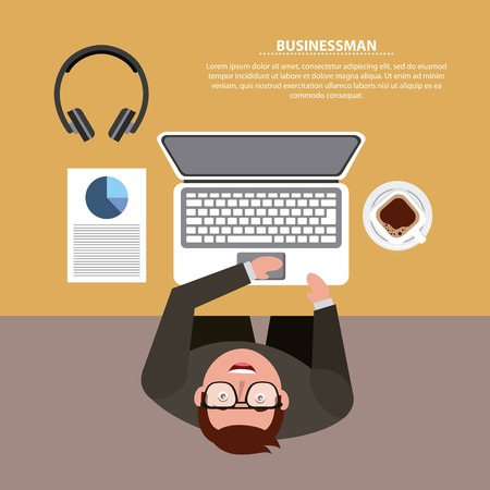 top view businessman works with laptop at desk vector illustration Çizim