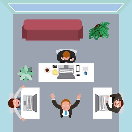 people working in office with desk laptop coffee sofa vector illustration 일러스트