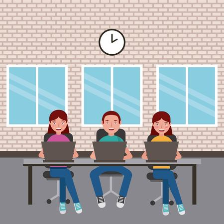 students boy and girls sitting with laptops learning in classroom vector illustration