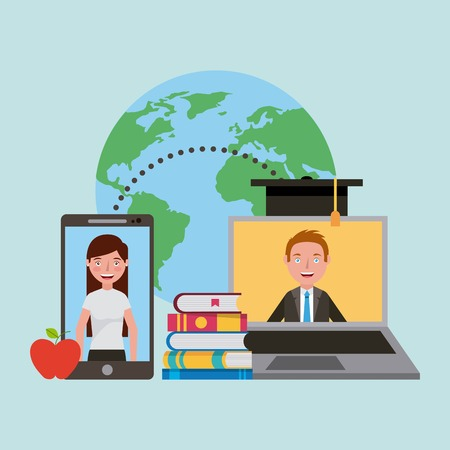 learning online education laptop and smartphone world vector illustration