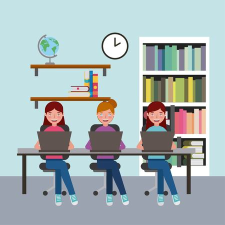 group girls sitting in classroom with laptops learning vector illustration