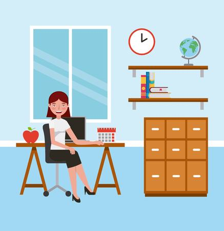 teacher woman in classroom with desk cabinet learning vector illustration