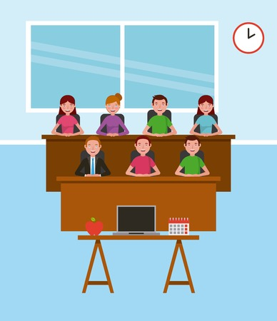 teacher and students desk laptop calendar learning vector illustration Illustration