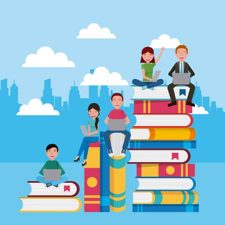 teacher and students sitting on stacked books learning vector illustration Illustration