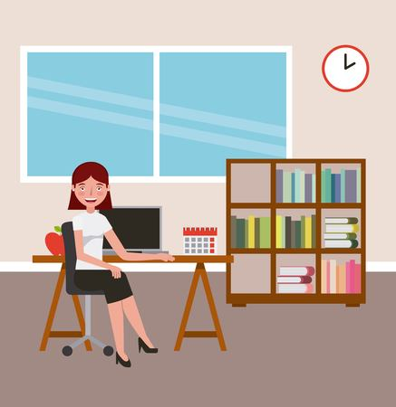 teacher woman desk pc and bookshelf books learning vector illustration