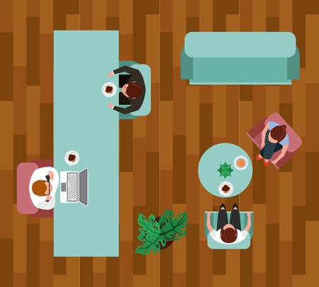 business people coffee break time in living room vector illustration