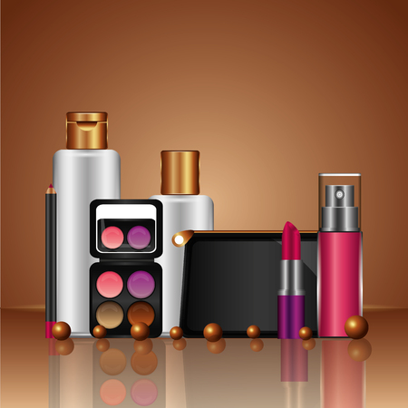 cosmetic makeup products beauty fashion set vector illustration