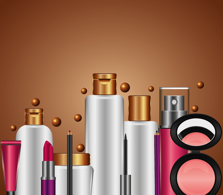 spray cream tube cosmetic makeup products vector illustration  イラスト・ベクター素材