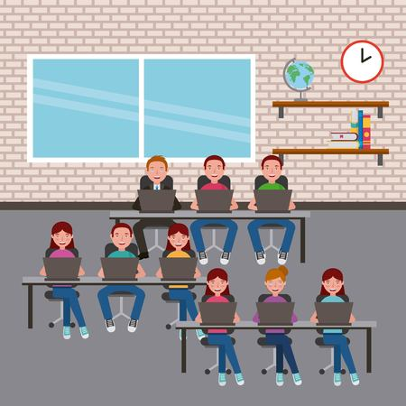 group students in classroom using laptops on desks learning vector illustration Illustration