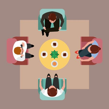 people meeting drinking coffee around the table top view vector illustration Illustration