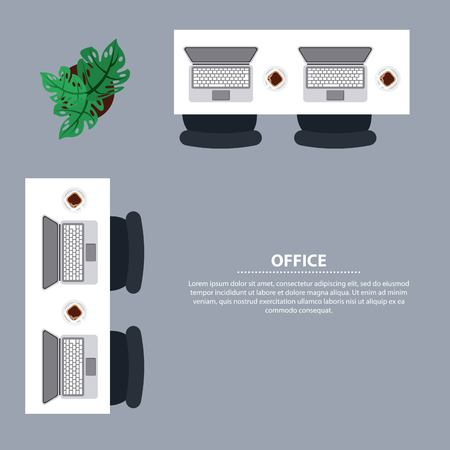 top view office desk laptop computer chair coffee cup vector illustration