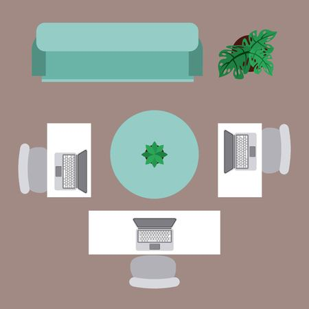 office workspace table desk laptop chair sofa plant top view vector illustration