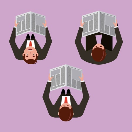 vue de dessus hommes d & # 39; affaires lisant l & # 39; illustration vectorielle de journal