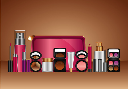 cosmetic makeup products fashion beauty vector illustration