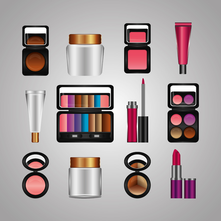 spray cream tube cosmetic makeup products vector illustration Illustration