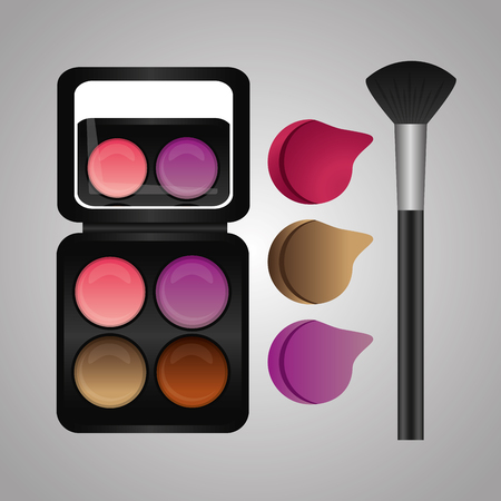 cosmetics makeup palette lips set and brush vector illustration