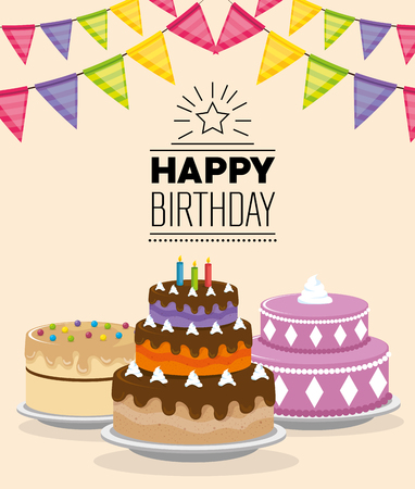 birthday card with sweet cake and garlands vector illustration design