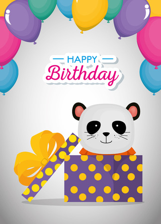 happy birthday card with cute bear panda vector illustration design