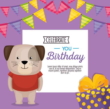 happy birthday card with cute dog vector illustration design Illustration
