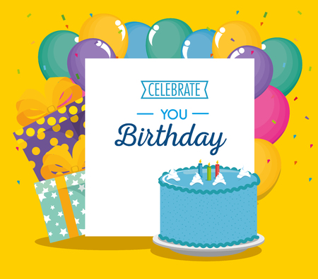 birthday card with sweet cake and balloons air vector illustration design