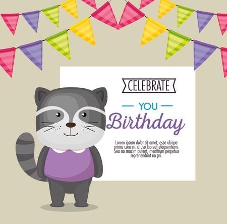 happy birthday card with cute raccoon vector illustration design Ilustracja