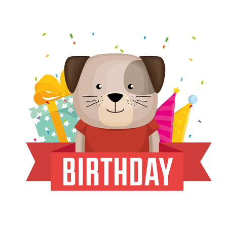 happy birthday card with cute dog vector illustration design Ilustracja
