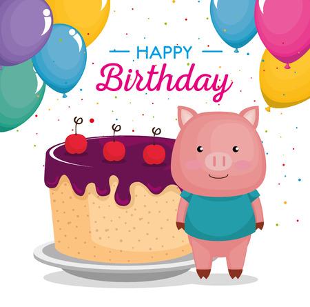 happy birthday card with cute piggy vector illustration design