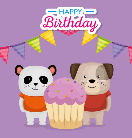 happy birthday card with cupcake and cute animals vector illustration design