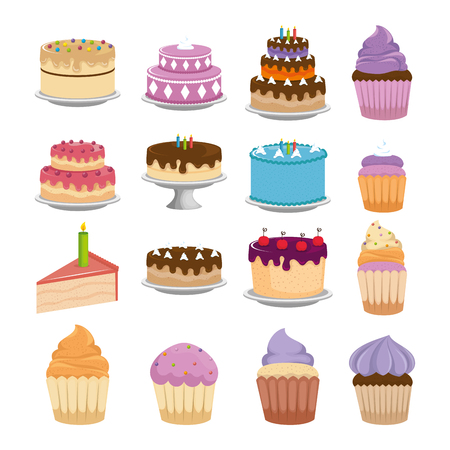 sweet cakes set icons vector illustration design