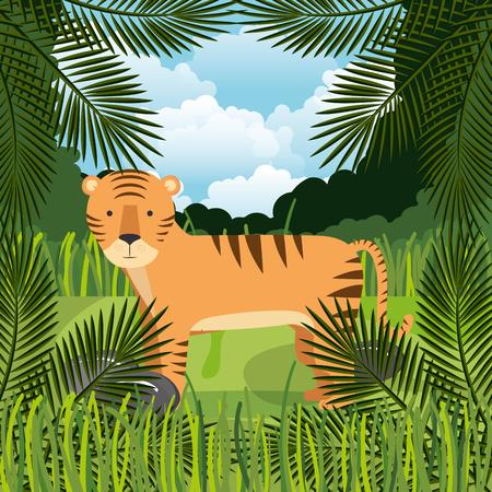 wild tiger in the jungle scene vector illustration design Ilustração