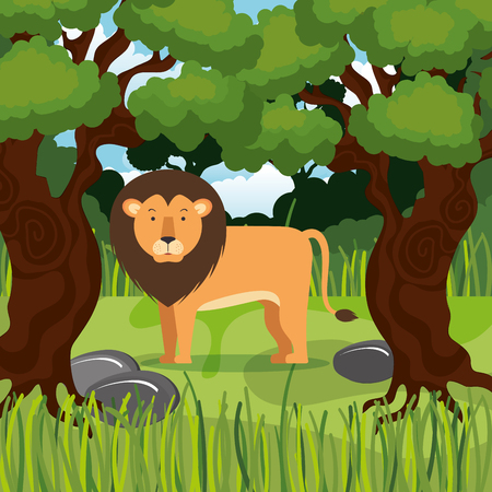 wild lion in the jungle scene vector illustration design